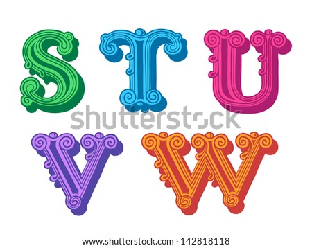 Doodle of retro Antiqua alphabet letters in caps, S, T, U, V, W - stock vector