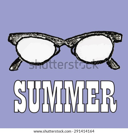 Doodle of sunglasses.  Summer symbols for design and backgrounds. Happy vintage image of summertime. Illustrations of topics of vacation and travel.