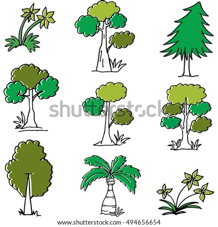 Doodle of tree cartoon vector illustration collection
