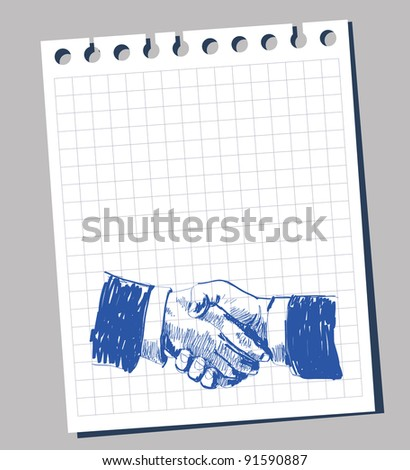 doodle of two men hands handshake - stock vector