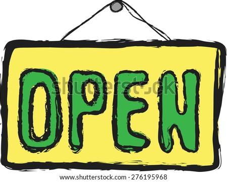 doodle open symbol,  vector illustration - stock vector