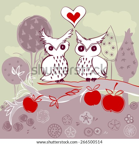 doodle owl couple in love sitting on an apple tree - stock vector