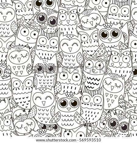 Doodle Owls Seamless Pattern Black White Stock Vector (Royalty Free ...