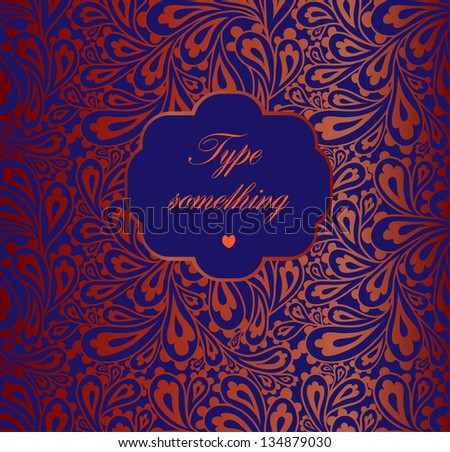 Doodle paisley pattern with a frame. - stock vector