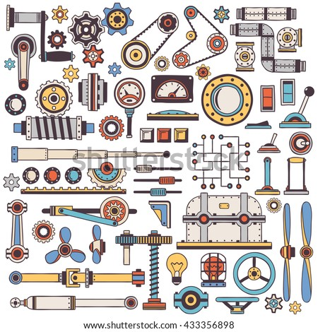 doodle parts of machinery and mechanisms in color. Handmade. Create a steam punk machine. - stock vector