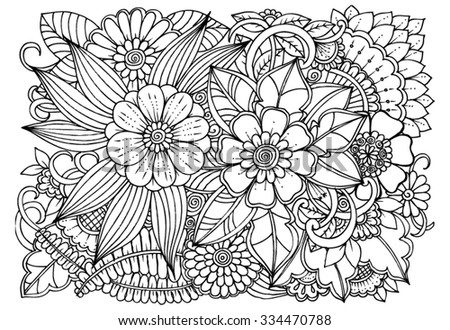 Doodle pattern. Vector  flowers in black and white - stock vector