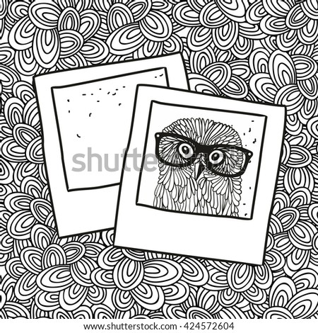 Doodle pattern with black and white photos image for coloring. Vector illustration. - stock vector