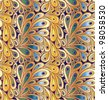 "Doodle peacock feathers seamless pattern in ""wild"" gradient colors - stock vector"