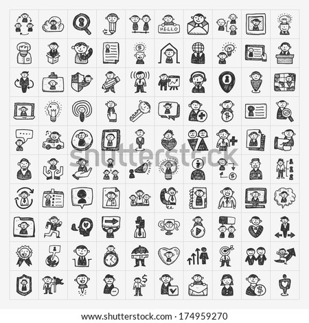 doodle people icons - stock vector