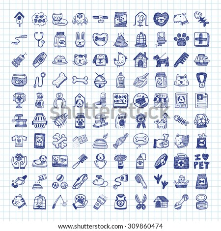 doodle pet icons - stock vector