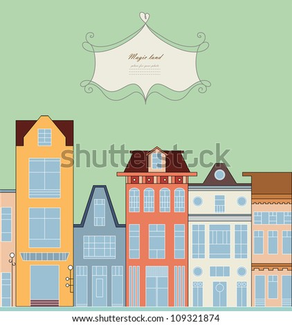 Doodle picture of traditional townhouse on the street for baby card, copybook, frame, gift, banner, border, sign symbol, vintage texture, baby book, home, old style pattern, vector eps 8