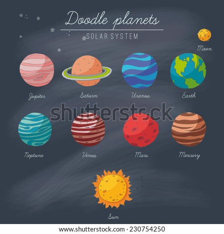 Doodle planets collection on blackboard. EPS 10. Transparency. No gradients. - stock vector