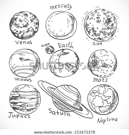 Doodle planets of the solar system isolated on white background - stock vector