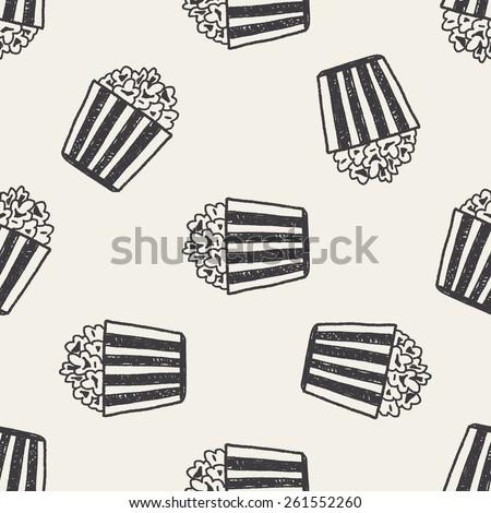 Doodle Popcorn seamless pattern background - stock vector