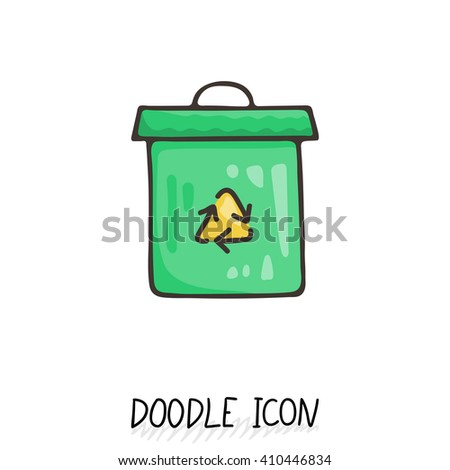 Doodle recycle bin icon. Trash can. Eco pictogram. - stock vector
