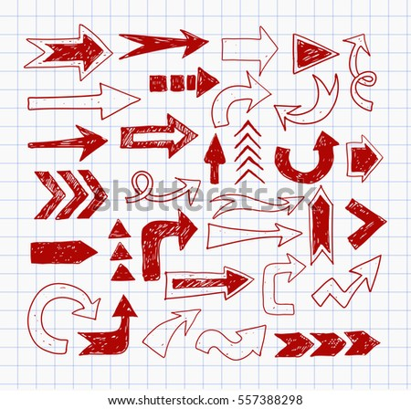 Doodle red pen sketch arrows on lined paper.
