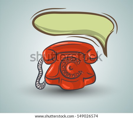 Doodle red phone with speech bubble