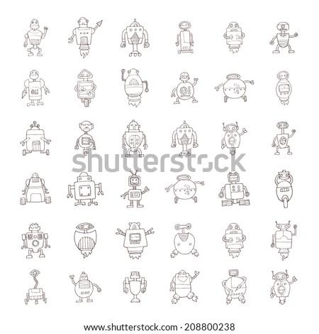 Doodle Robot cartoon, vector illustration. - stock vector