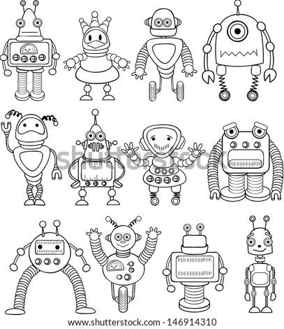 Cute Robot Doodles Doodle Robots Vector