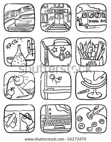 Doodle school icons set, vector illustration - stock vector