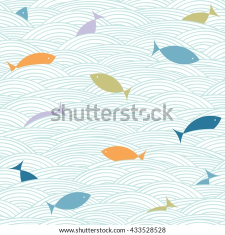 Doodle sea waves and fishes pattern. Nautical background. Vector seamless wallpaper.  - stock vector
