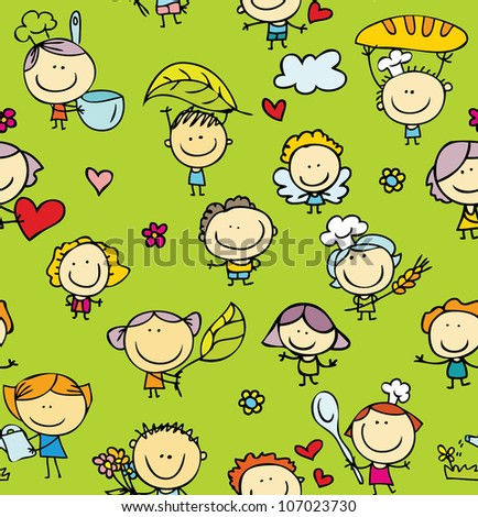 Doodle seamless background of happy family with kids - stock vector