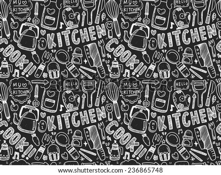 doodle seamless Cooking and kitchen background - stock vector