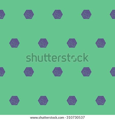 Doodle seamless hexagon pattern background. Hand drawn simple graphic geometric elements isolated on green background for use in design