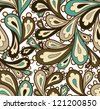 Doodle seamless paisley pattern. - stock photo