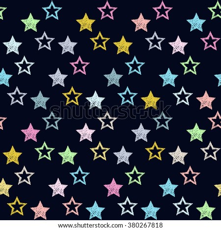 Doodle seamless pattern background. Hand drawn simple graphic geometric stars isolated on stylish background for use in design - stock vector