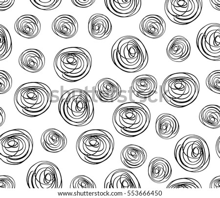 Doodle seamless pattern hand-drawn pen, ink, chalk