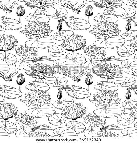 Doodle seamless pattern with a water lily and dragonfly - stock vector