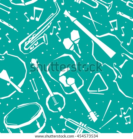 doodle seamless pattern with classical music instruments and objects. Seamless background with stylized musical instruments. Musical instruments seamless pattern. Jazz seamless pattern.  - stock vector