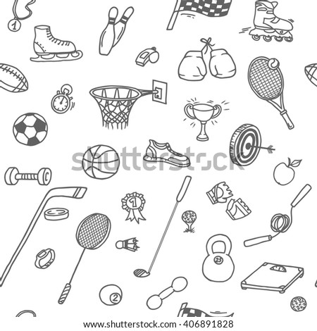 Doodle seamless pattern with different sport objects: football, basketball, golf, racket, boxing gloves, rollers, skates etc. - stock vector