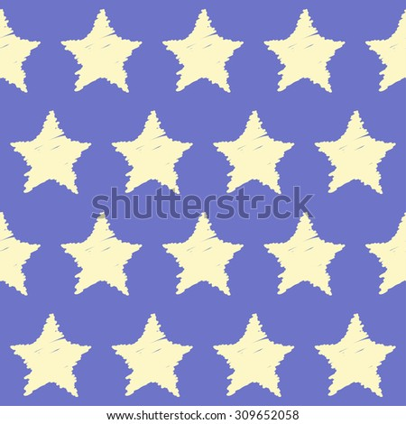 Doodle seamless stars pattern background. Hand drawn soft colored simple graphic geometric elements isolated on purple background for use in design - stock vector