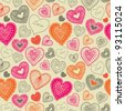doodle seamless wallpaper with hand drawn Valentine hearts - stock photo