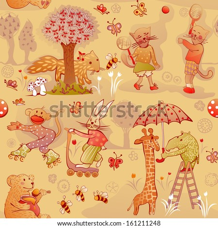 doodle seamless wildlife characters in funny situations - stock vector