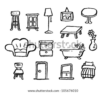 doodle series - furniture - stock vector