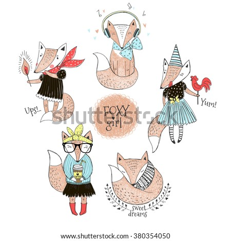 doodle series of cute fox girl, kid design - stock vector