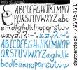 doodle set - alphabet - stock vector