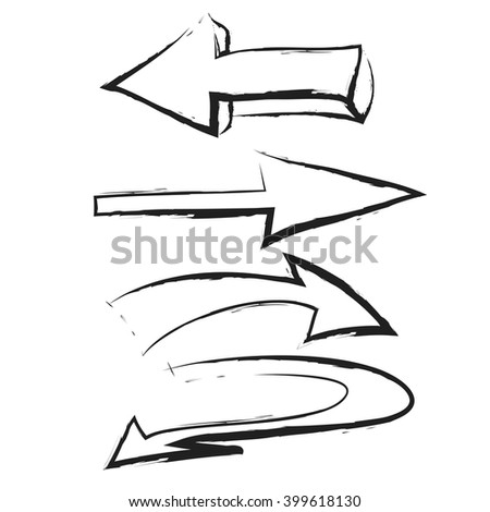 doodle set arrow,  vector icon illustration