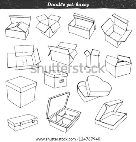 Doodle set - boxes - stock vector
