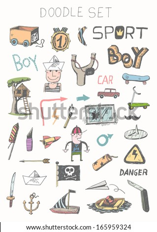 Doodle set - boy toys - stock vector