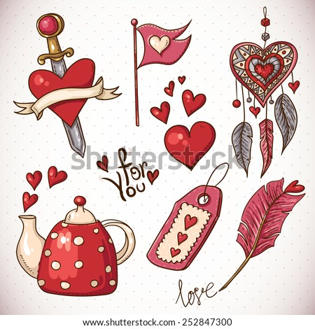Doodle set elements of Valentine's Day, vector illustration - stock vector
