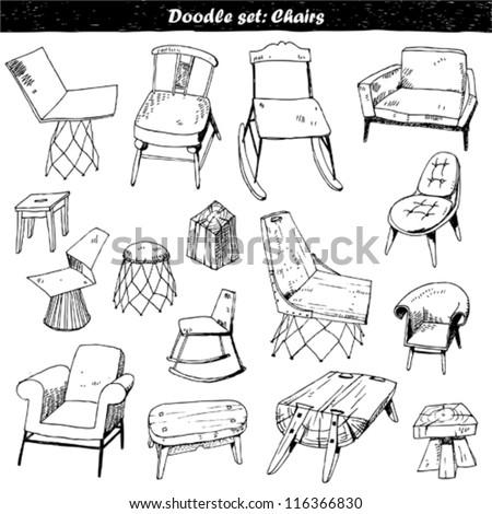 doodle set : furniture - stock vector