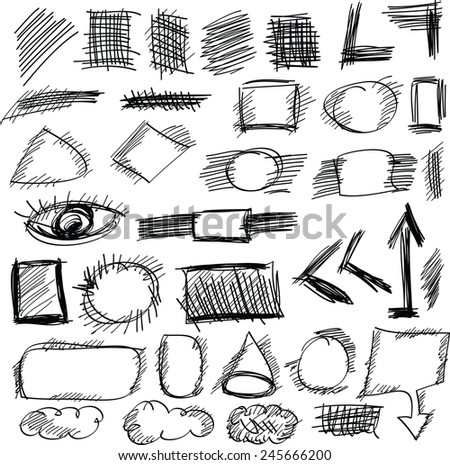 Doodle, set hand drawn shapes, line, circle, square, vector - stock vector