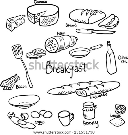 Doodle set of components and utensils for cooking breakfast,hand drawn design elements - stock vector