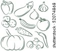 Doodle set of different vegetables isolated on white background - stock photo