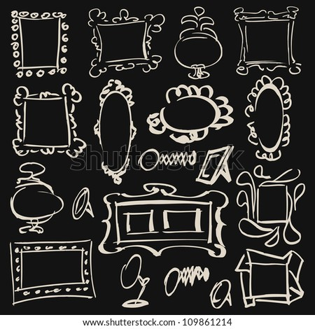 doodle set of frames, mirrors - stock vector