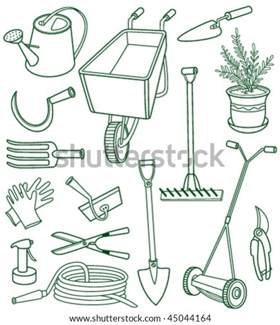 Doodle set of gardening tols - stock vector